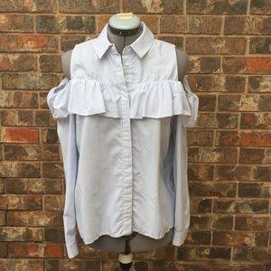 Topshop blue & white stripe cold shoulder top, 10